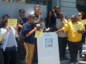 Tim Killikelly President of AFT 2121 joins ACCE homeowners in press conference to support Housing Preservation Resolution in support of SF CARES