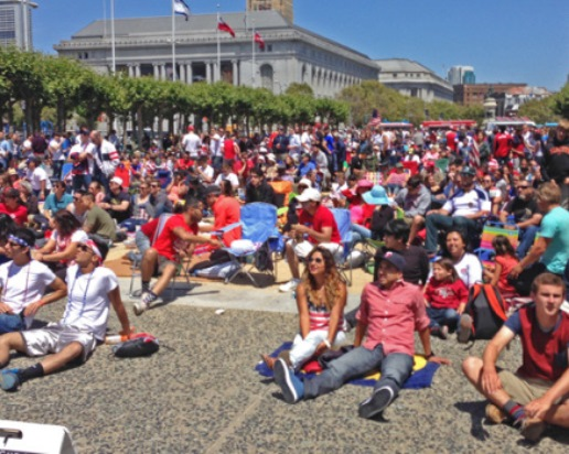 Fans crowd Civic Center Plaza for World Cup