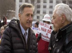 At left, Vermont Governor Peter Shumlin, with Ed HIll,
