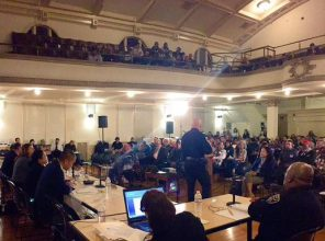 Chief Suhr addresses over 300 people at hearing on Tenderloin police station redistricting, Jan. 28