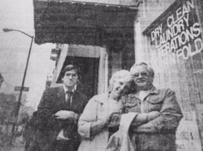 Randy Shaw in Nov. 1988 with some of the first group of homeless persons placed in SROs through THC's Modified Payment Program