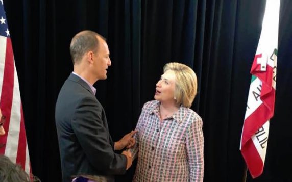 Assemblymember Kevin McCarty with Hillary Clinton.