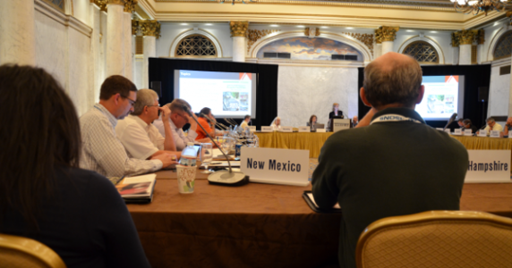 Bike guide contractor Jennifer Toole speaks last month at the annual meeting of the AASHTO Subcommittee on Design.