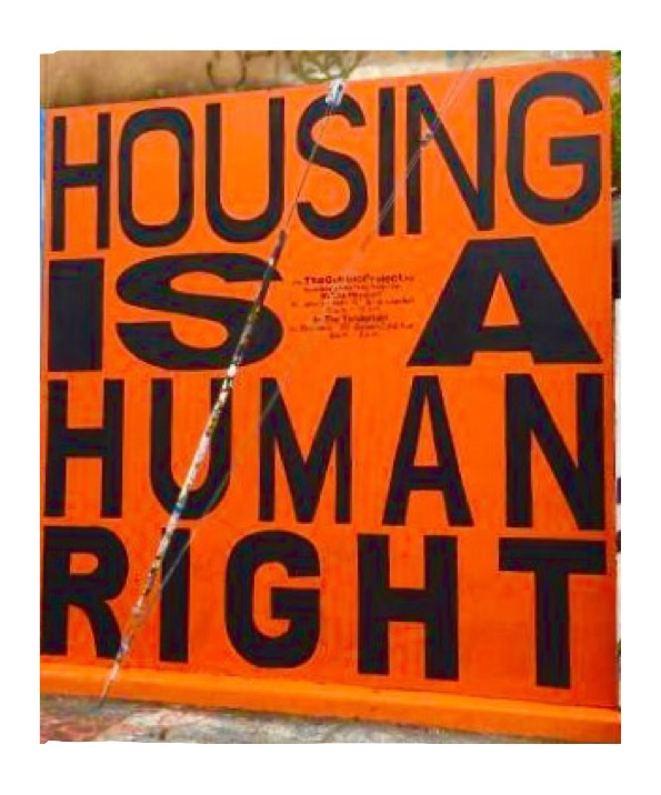 """Housing is A Human Right"" mural by Megan Wilson and Christopher Statton, Clarion Alley Mural Project"
