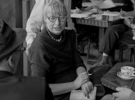 Jane Jacobs leading a planning meeting for West Village Houses in May 1963