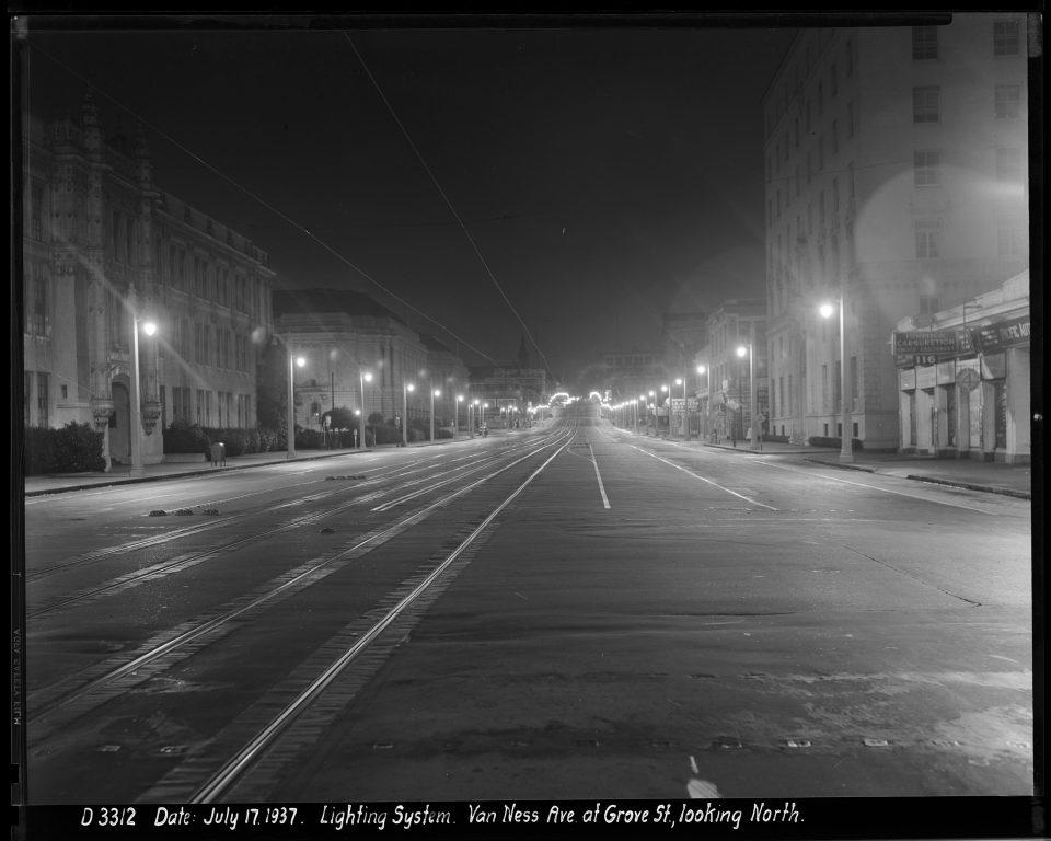 Outdoor Night Shot Looking North on Van Ness Avenue at Fell Street Towards Street Lighting | July 17, 1937
