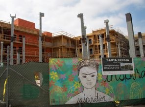 Apartment building construction, Boyle Heights. (All photos by Pandora Young.)