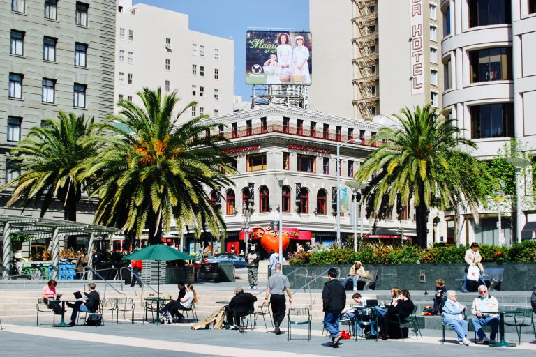Union Square has very different vibe from the Tenderloin