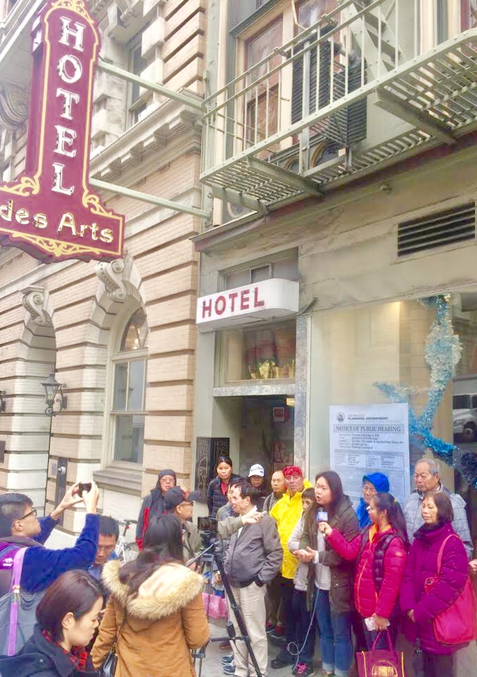 CCDC and SRO tenants citywide rally in front of Hotel Des Artes, which later withdrew its conversion application.