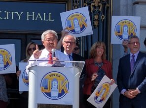 Mayor Lee campaigning for the failed Props J & K. Jeff Kositsky is on right.