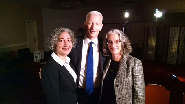 Linda Dardarian, Anderson Cooper and Lainey Feingold