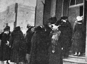 Women of the Underworld march through the Tenderloin to a church, January 25, 1917