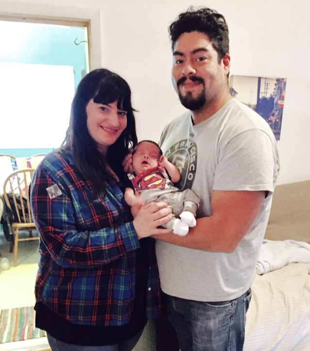 Tenants Rebecca Suval and Juan Carlos Ramirez with their baby