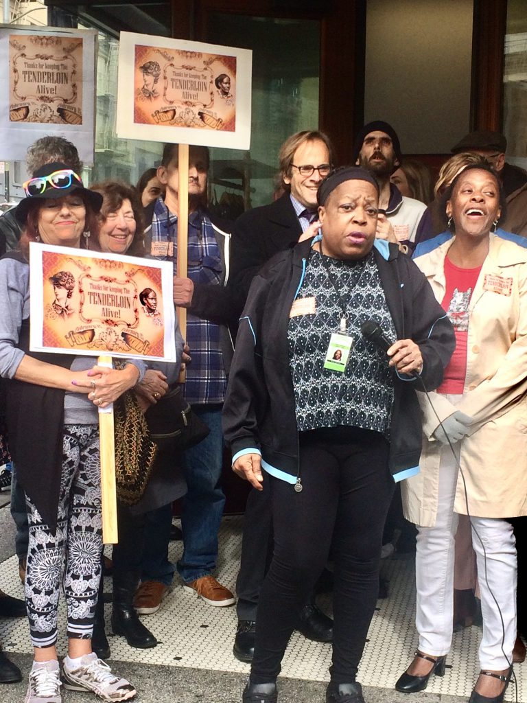 Jefferson Hotel Tenant Leader Brenda Washington Speaks at Keep Tenderloin Alive Rally. Photo by David Elliot Lewis