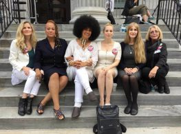 The author (right of center) with several Cosby accusers. (Photos courtesy of author)